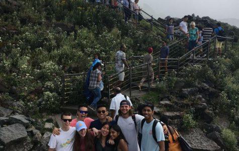 International Club students pose as they walk along Niagara Falls in Niagara Falls, New York on Saturday, Sept. 16, 2017.