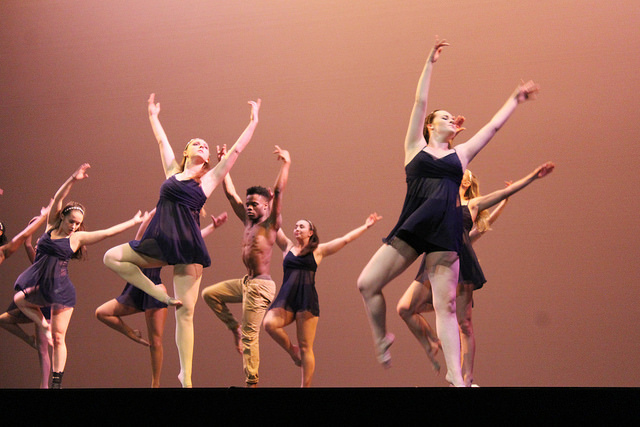 "In ""Lay Me Down,"" Orchesis members dance to the piece choreographed by Toni Donofrio, '18."