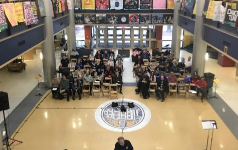 Family, friends and students gather to watch the Allegheny Jazz Band perform on Sunday, Nov. 12, 2017 in the Henderson Campus Center Lobby.
