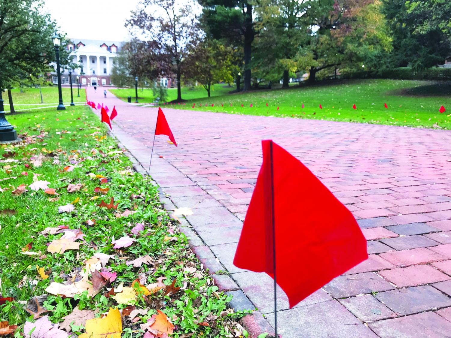 The flags placed by Why Not Us? to bring attention to Domestic Violence Awareness Month stand on Brooks Walk on Tuesday, Oct. 31, 2017.
