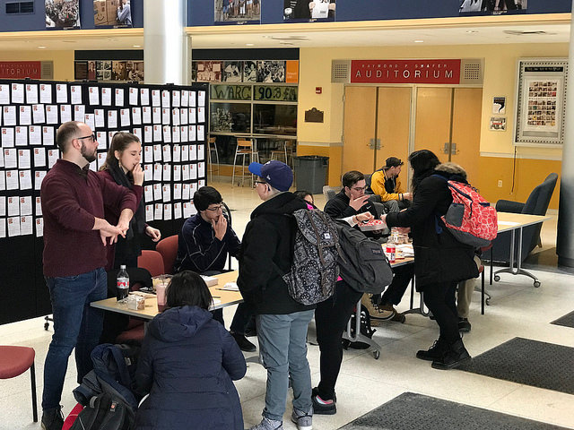 Why Not Us? and Allegheny Student Government hold their pledge signing event in the Henderson Campus Center on Tuesday, Feb. 6, 2018.