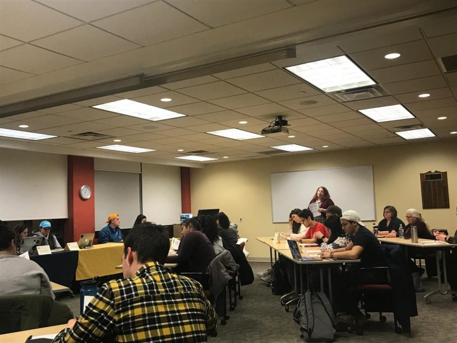 Associate Director of Housing Operations Maureen Muckinhaupt visits Allegheny Student Government to discuss official changes to room and housing selection during its meeting on Tuesday, March 6, 2018.