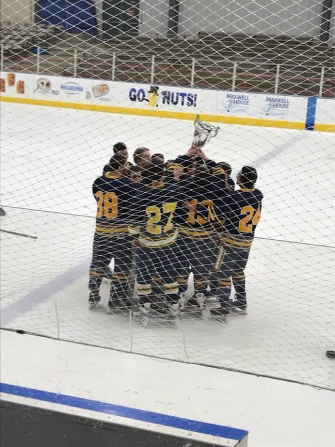 The hockey team celebrates its win against St. Francis University on Saturday, February 24, 2018.