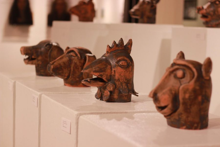 "Multiple works of sculptures by Olivia Xie, '19, exhibited her ""Chinese Zodiac"" collection in the Henderson Campus Center Bowman~Penelec~Megahan Art Gallery on Tuesday, April 3, 2018."
