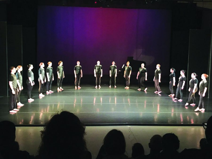 "Contemporary Dance students perform the dance ""Changing Times."" The dance was directed by Eleanor Weisman and performed in the concert on Friday, April 6, 2018."