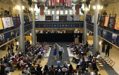 A crowd watched as participants walk in the Catwalk to end Fat Talk on Friday, April 6, 2018 in the Henderson Campus Center.