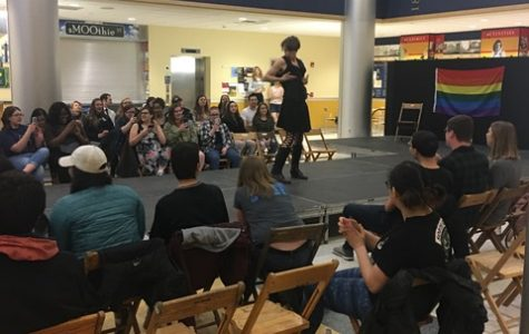 Malcolm Willig , '21, performs at the Gender and Sexuality Alliance Drag Show on Saturday, April 14, 2018 in the Henderson Campus Center Lobby.