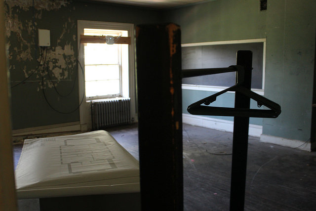 An abandoned classroom on the third floor of Bentley Hall. Classes were taught in the building from its construction through the 1960s, when the college closed the third floor due to a lack of means of egress. A seminar room may be added to Bentley during renovations, reopening the building to classes after nearly 60 years.