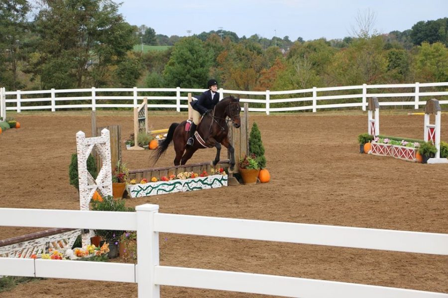 Griffin Sullivan, '19, rides over a jump during competition.