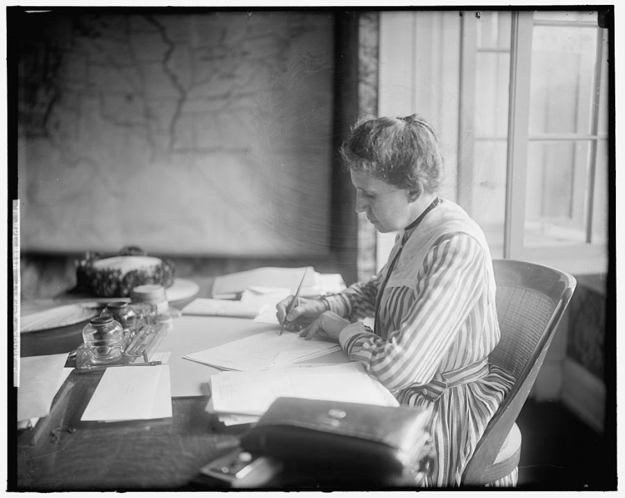 A glass negative of Ida Tarbell, captured in 1905 by the Harris and Ewing Photo Studio as part of a portrait series, is now kept in the Harris and Ewing Collection at the Library of Congress.
