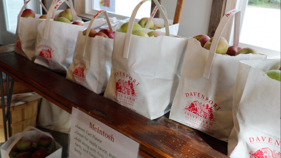McIntosh apples sit for sale in the main entry room at the farm. Davenport sells a variety of apples, Red Bartlett Pears, baking mixes, ciders, hard ciders and wines.