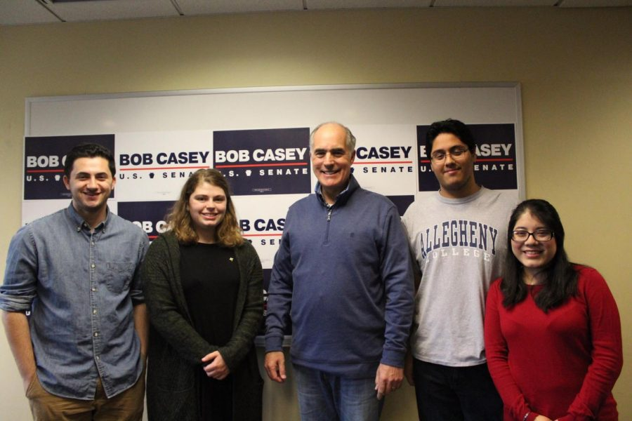 Dominic Bell, '21, Kelsey Evans, '20, Sen. Bob Casey, Enrique Lopez, '20, and Melanie Torres, '21 pose for a group photo after Casey's visit to campus on Wednesday, Oct. 24, 2018.
