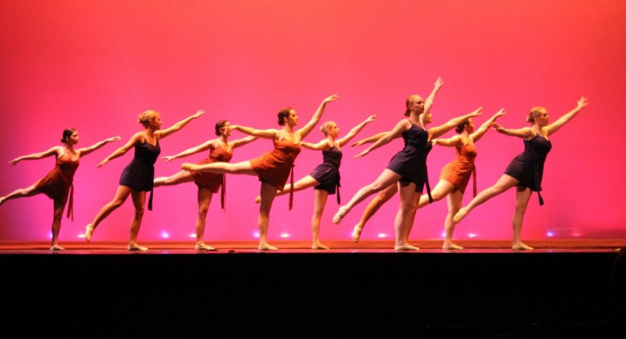 """Dancers perform a ballet piece to """"Flares,"""" choreographed by Margaret Zeller, '20."""
