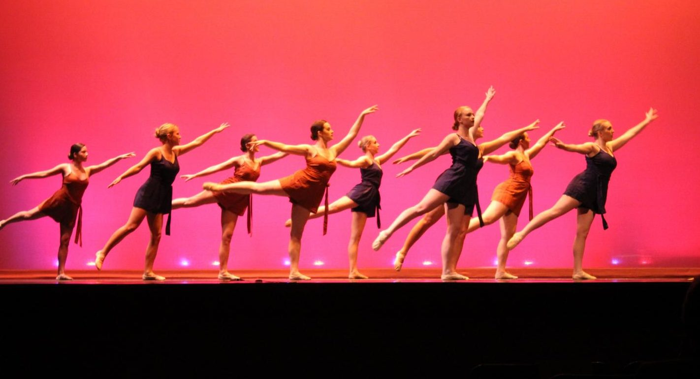 "Dancers perform a ballet piece to ""Flares,"" choreographed by Margaret Zeller, '20."