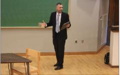 Matt Platz, candidate for public safety, speaks to students, staff