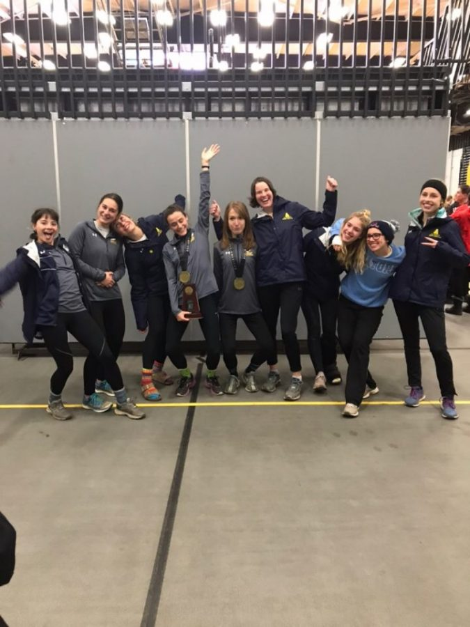 The Allegheny women celebrate after running in the NCAA Division-III Championships in Oshkosh, Wisc. Saturday, Nov. 17, 2018.