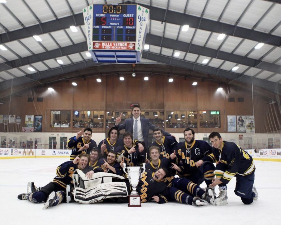 The Allegheny men's club ice hockey team celebrates its first-ever College Hockey East M5 title  following a win against St. Francis University on Feb. 28, 2018.