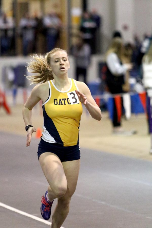 Tori Valachovic, '20, sprints during the 2018 indoor season. Valachovic was a 2018 All-NCAC indoor athlete who competed in two events.