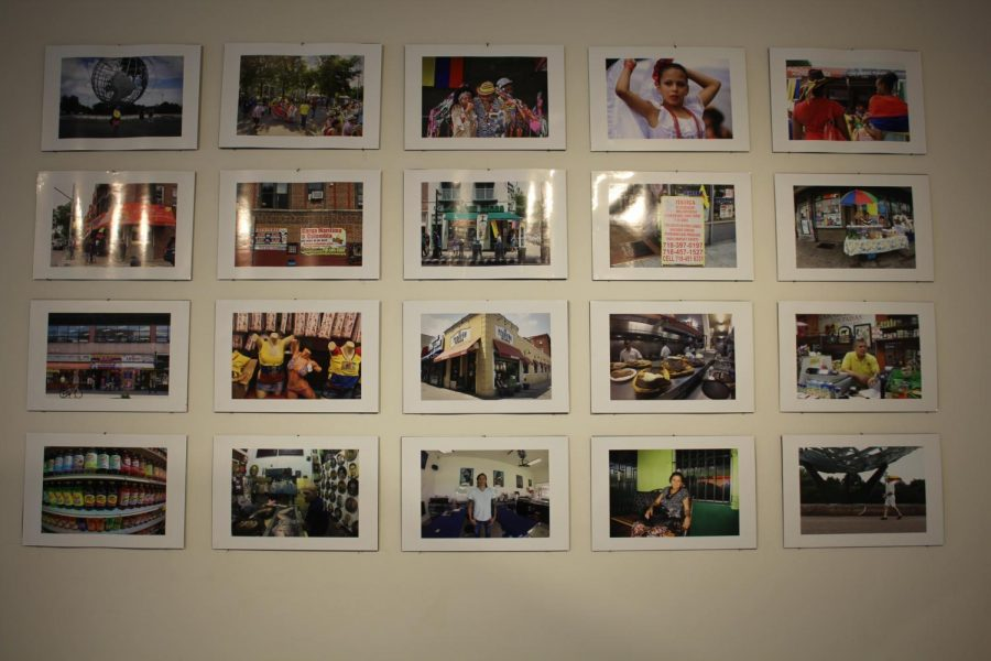 """A collection of 20 photographs titled """"Daily Life and Urban Spaces of Transnational Colombians in Two U.S. Cities"""" hangs in the Bowman~Penelec~Megahan Art Galleries at Allegheny College. The 2018 collection was created by Rodolfo Guzman, professor of Spanish and Hispanic studies at Earlham College."""