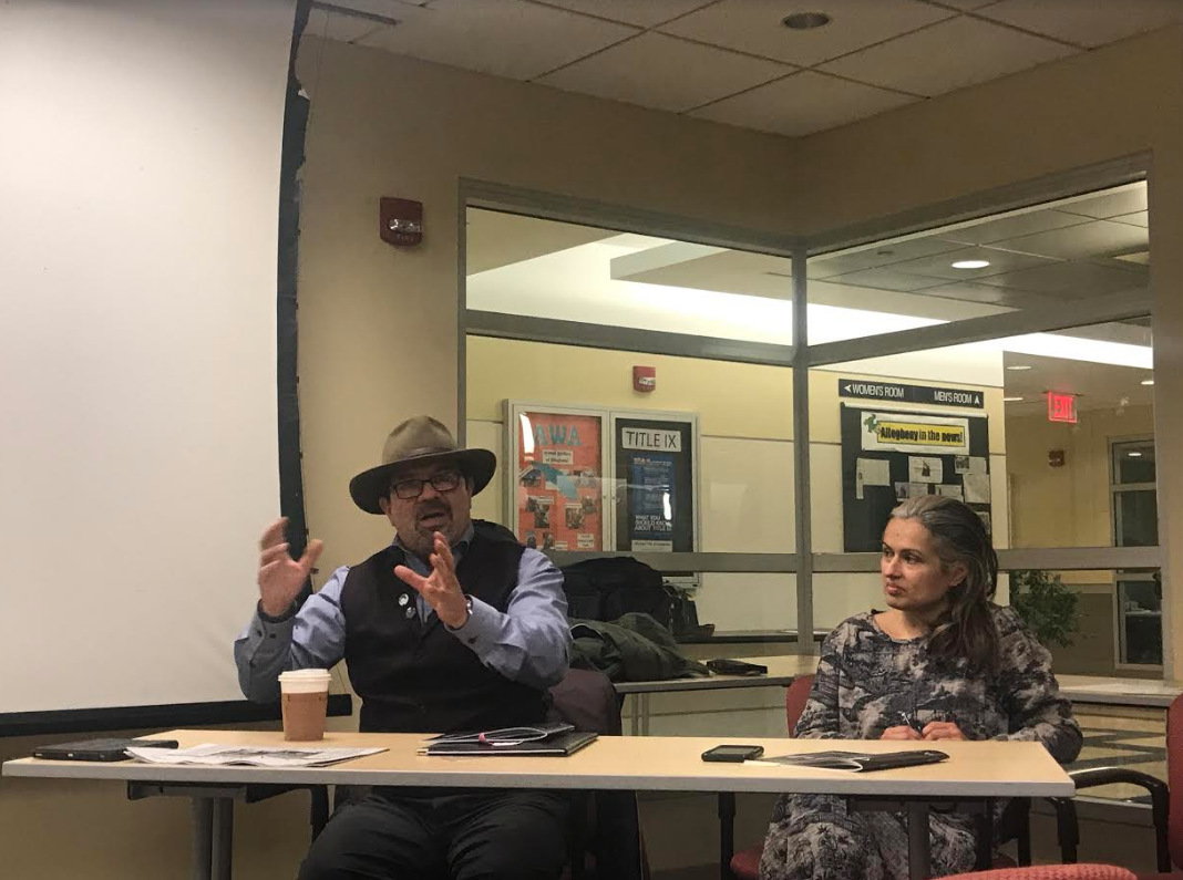 Rodolfo Guzman and Kristina Bogdanov talk to faculty and students about their work and experiences during a panel Tuesday, Feb. 19, 2019.