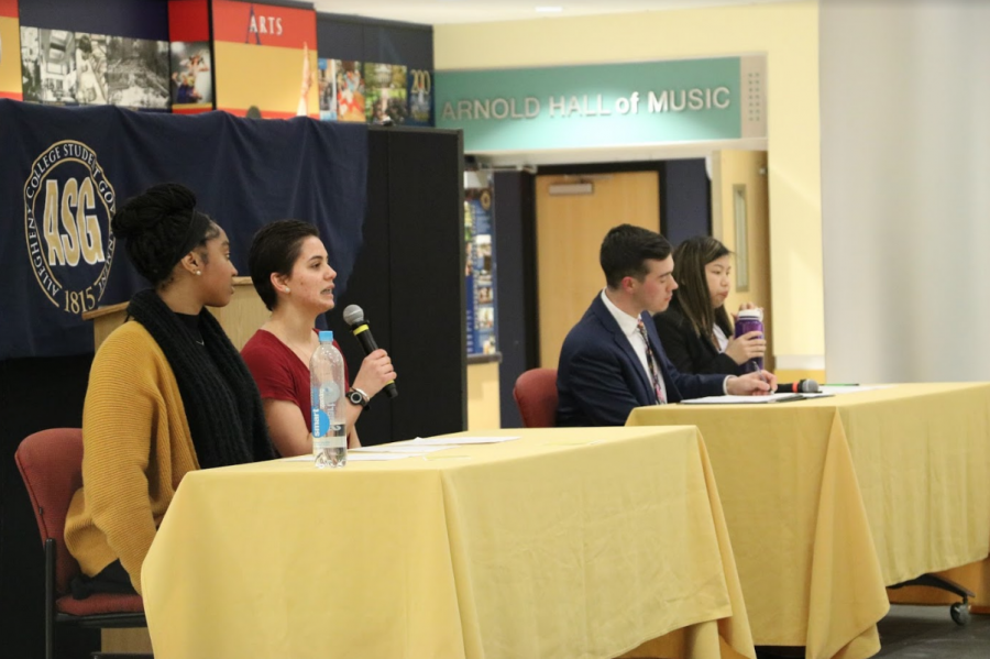 Jabriya Hester, '21, Taylor Marzouca, '21, Jason Ferrante, '20, and Elyse Cinquino, '20, participate in the annual Allegheny Student Government presidential and vice presidential candidate debate in the Henderson Campus Center lobby on Tuesday, Feb. 26, 2019.