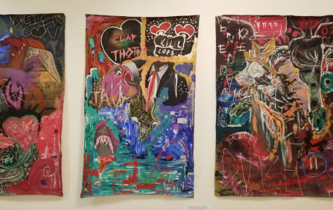 The unnamed triptych has since been removed from public view on Allegheny's campus due to online complaints. This photo shows the full work. The original photo posted on Facebook was a cropped image.