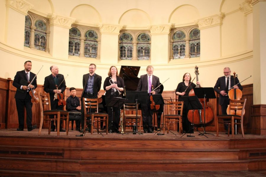The Alexander String Quartet, comprised of first violinist Zakarias Grafilo, second violinist Frederick Lifsitz, violist Paul Yarbrough and cellist Sandy Wilson, is accompanied by Allegheny's Jennifer Dearden on trumpet, Douglas Jurs on piano and guest artist Tracy Rowell on double bass Friday, March 1, 2019, in Ford Memorial Chapel.