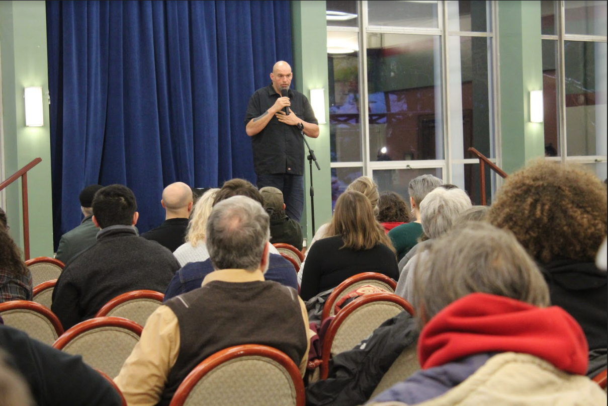 Lt. Gov. John Fetterman speaks to audience members about the legalization of marijuanna in Pennsylvania on a visit to campus. Fetterman spoke in Schultz Banquet Hall Wednesday, Feb. 27, 2019.