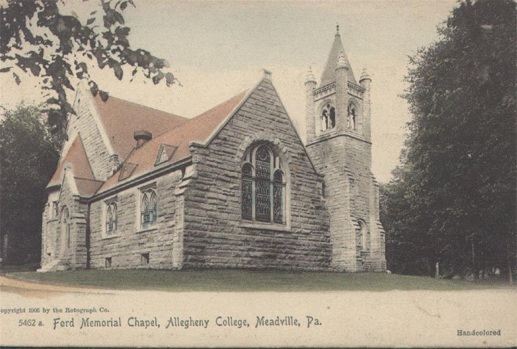 A 1905 handcolored postcard, produced by the New York City-based Rotograph Co., depicts the southwest corner of Ford Memorial Chapel.