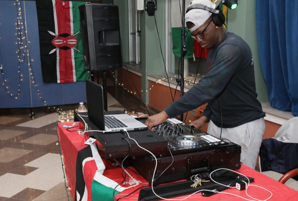 "George Opara, '19, serves as DJ for the ""Rep Yo Flag"" event, sponsored by Allegheny Student Government Friday, April 5, 2019, in Schultz Banquet Hall."