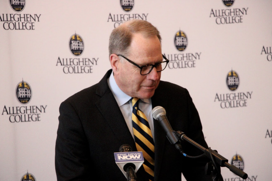 Mullen introduces new head football coach Rich Nagy to the Allegheny community at a press conference in the Tippie Alumni Center on Feb. 15, 2019.