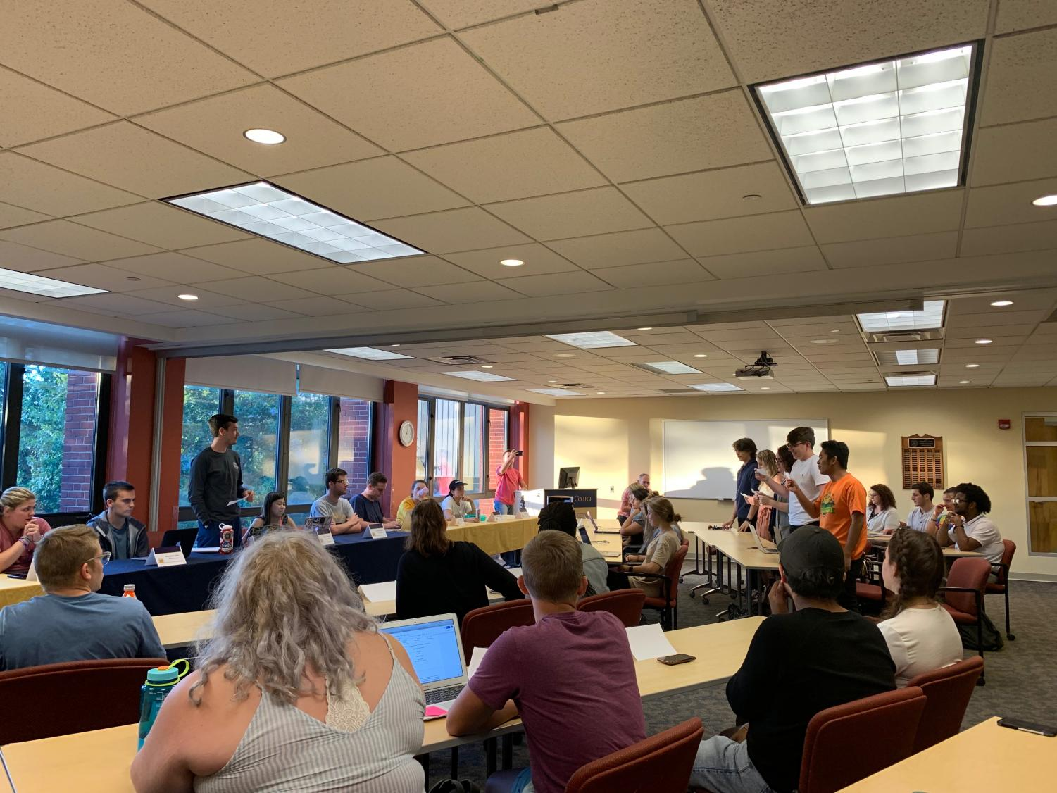 Five first-year senators are sworn into office during the Allegheny Student Government meeting on Sept. 17, 2019, in the Henderson Campus Center.