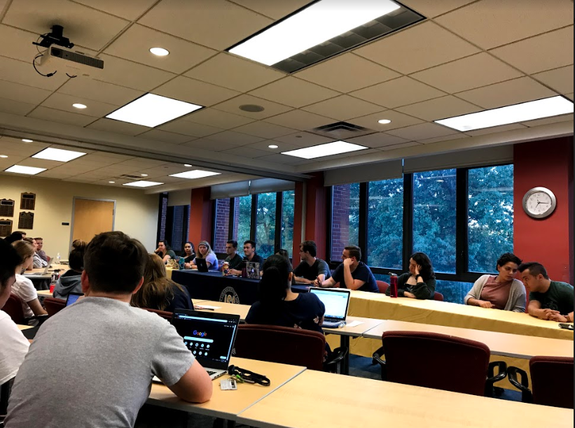 Allegheny Student Government holds discussions at their weekly general assembly meeting in the Henderson Campus Center room 301/302.