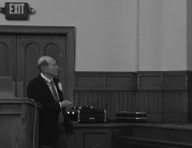 University of Rochester Professor Richard Eisenberg discusses a carbon-free future during his lecture on Monday, Sept. 23, 2019, in Ford Memorial Chapel.