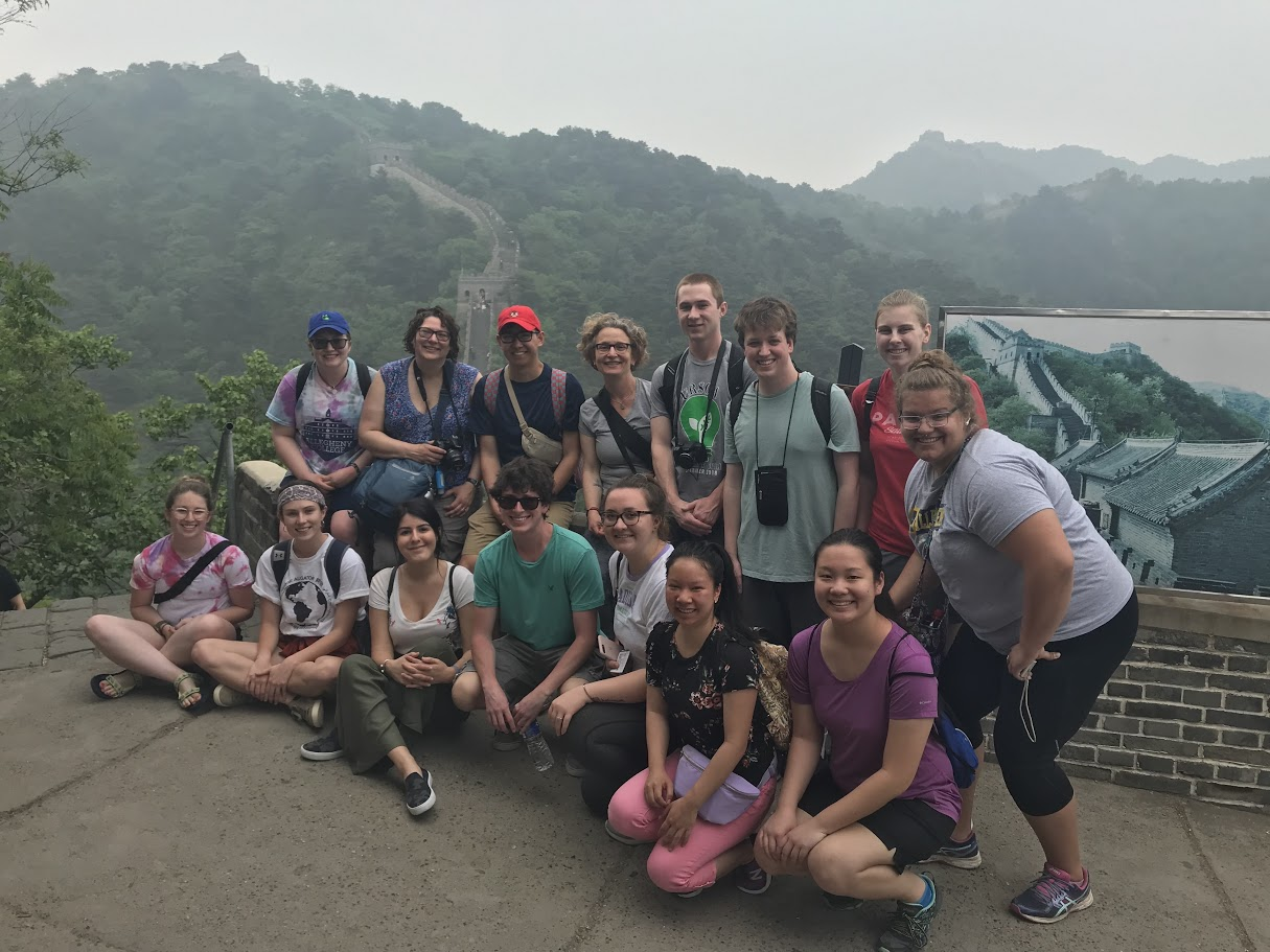 Attendees of the Experiential Learning Seminar to China during summer 2019 in front of the Great Wall of China.