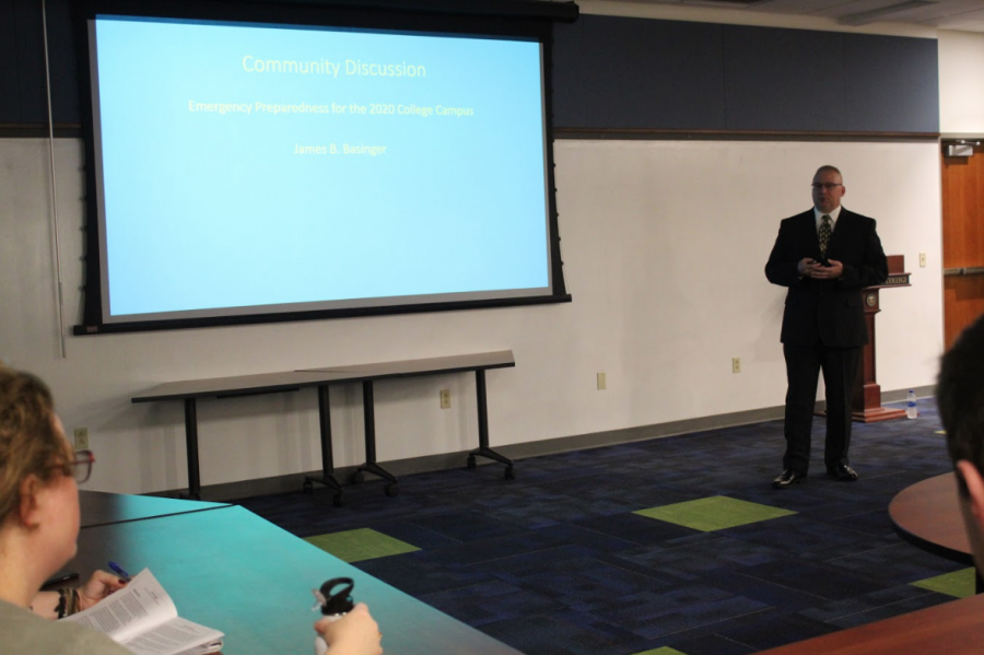 James B. Basinger presents his plans for Emergency Preparedness for the college on Thursday, Oct. 3, 2019, in the Pelletier Library Collaboratory.
