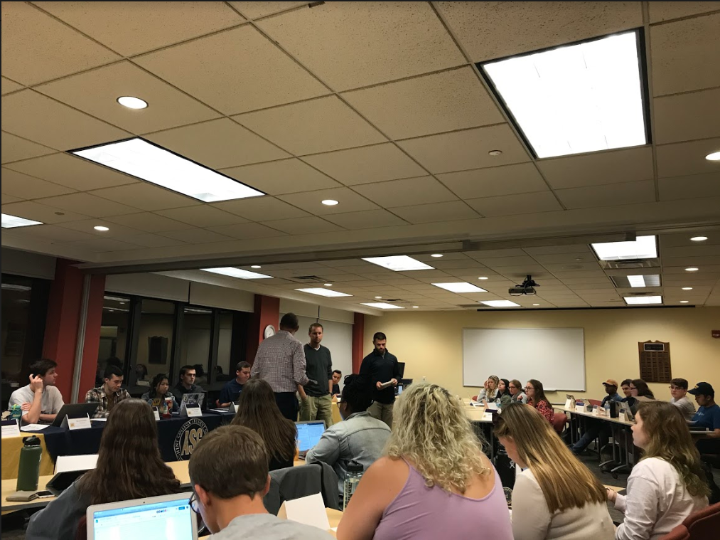 Bill Ross, Jared Luteran and Chris Van Alstyne talk to Allegheny Student Government and answer questions regarding the need for funds from ASG to help renovate the David V Wise Center during general assembly at 7 p.m. in Tuesday, Oct. 29, 2019 in the Henderson Campus Center.