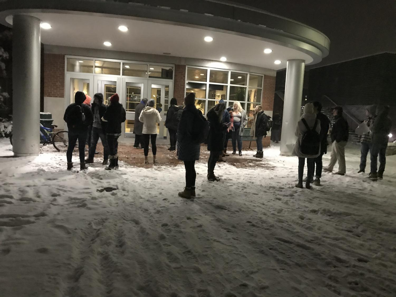 Students wait outside the Henderson Campus Center after a fire alarm delayed Allegheny Student Government's meeting on Tuesday, Nov. 13.