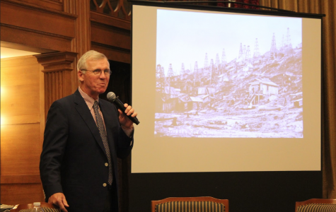 Charles Fountain, Professor of Journalism at Northeastern University, talks to students and community members about Allegheny alumnus and famous muckraker Ida Tarbell on Nov. 4 in the Tillotson Room at Tippie Alumni Center at Cochran Hall.