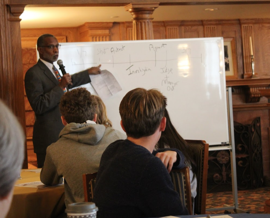 State Senator Art Haywood (PA-4) talks to students about pathways to civic advocacy on Friday, Nov. 8, in the Tillotson Room at Tippie Alumni Center at Cochran Hall.