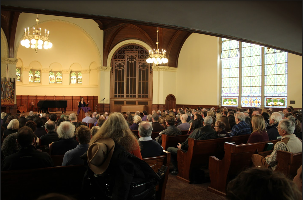 Friends, family and the Allegheny community fill the room to remember the life of Professor Emeritus Scott Wissinger at 11 a.m. on Saturday, Nov. 9, 2019, in Ford Memorial Chapel.