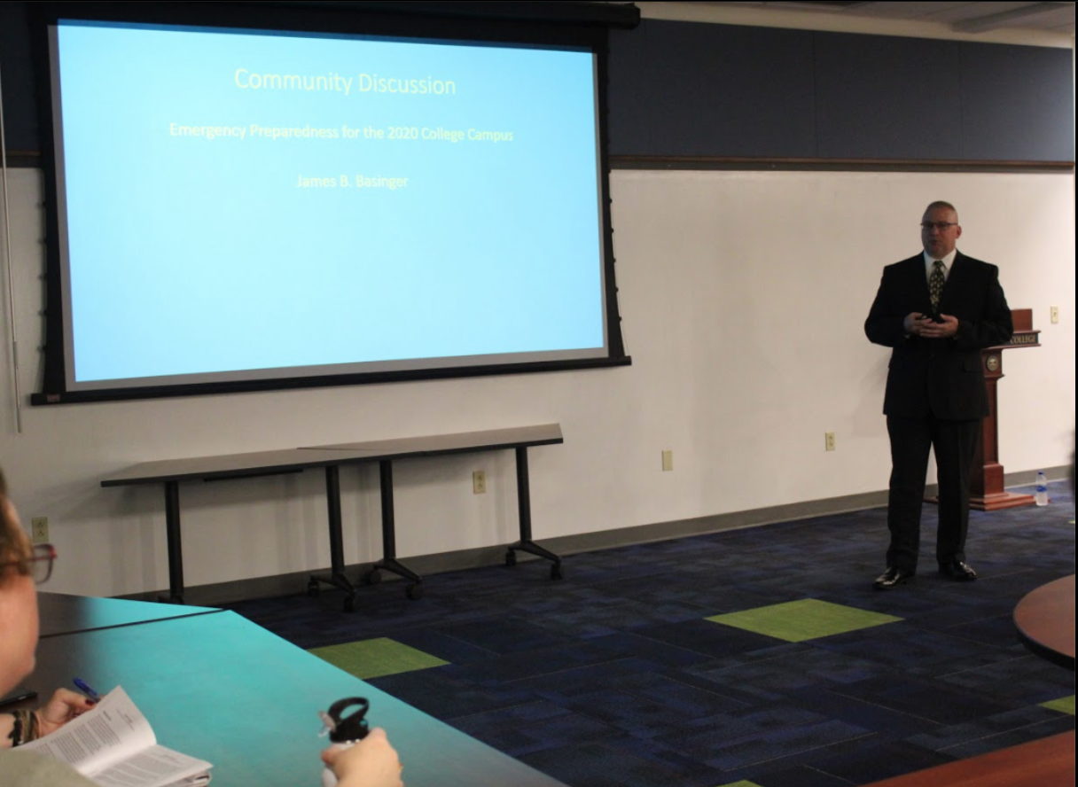 James B. Basinger presents his plans for emergency preparedness while applying for job as director of public safety on Oct. 3, 2019, in Pelletier Library.