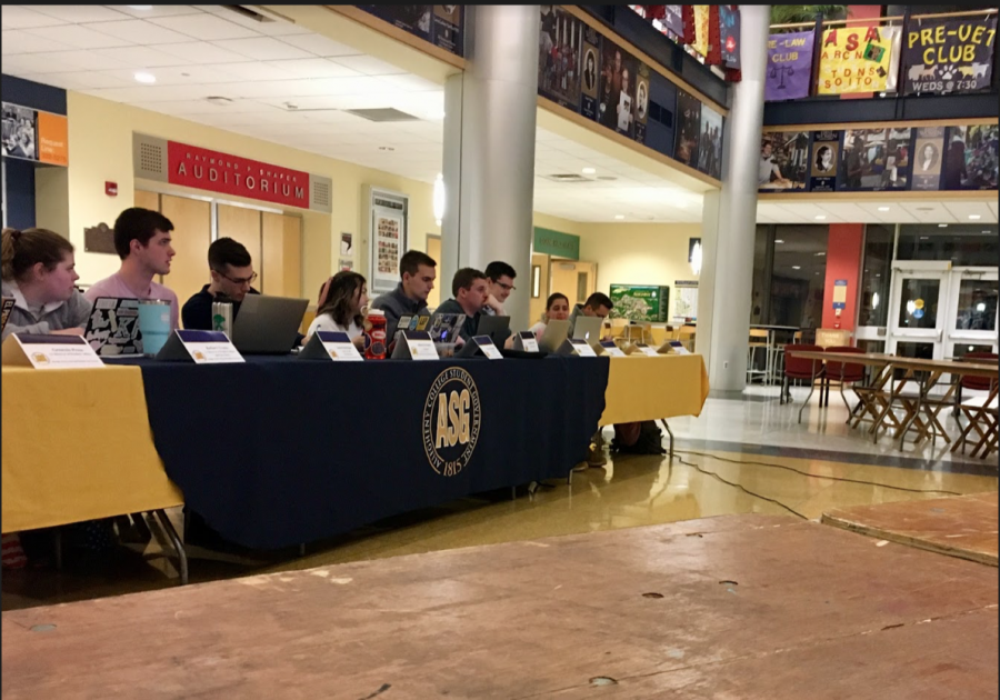 Allegheny Student Government holds its weekly general assembly in the Henderson Campus Center lobby on at 7 p.m. Tuesday, Feb. 18, 2020.