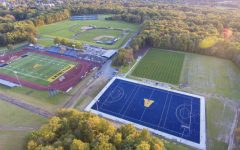 An aerial view of Robertson Field, where several spring sports teams will begin play after almost a year off due to COVID-19.