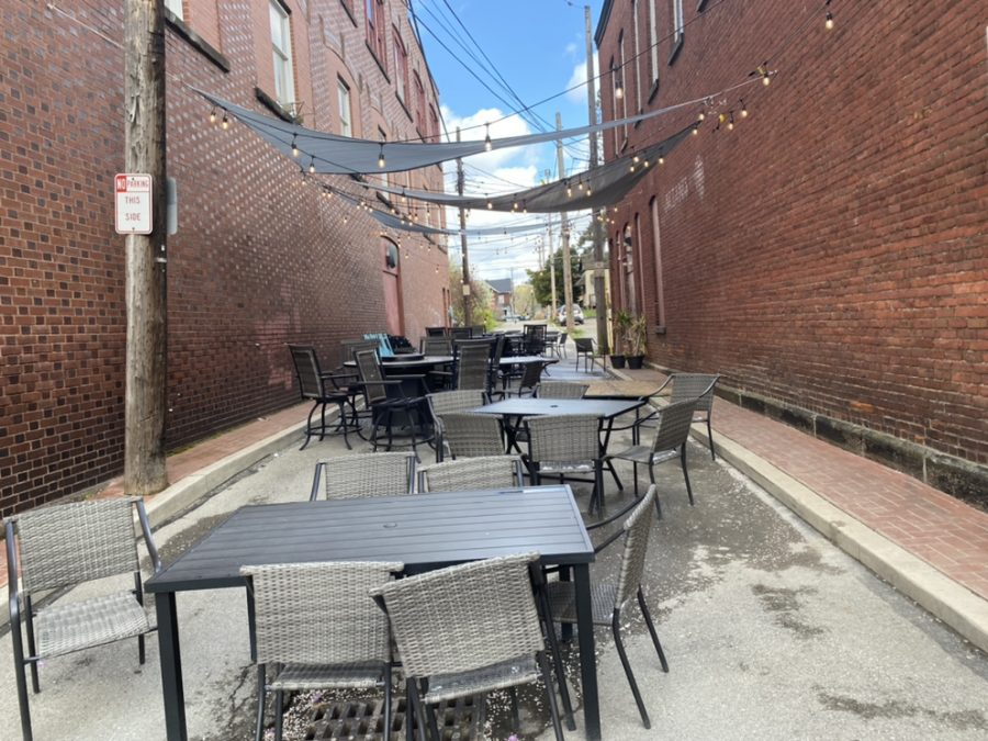 Outdoor seating at Julian's Bar & Grill, located at 299 Chestnut St. in Meadville.