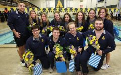 Senior swim and dive team members are recognized after their last meet at Mellon Pool last weekend.