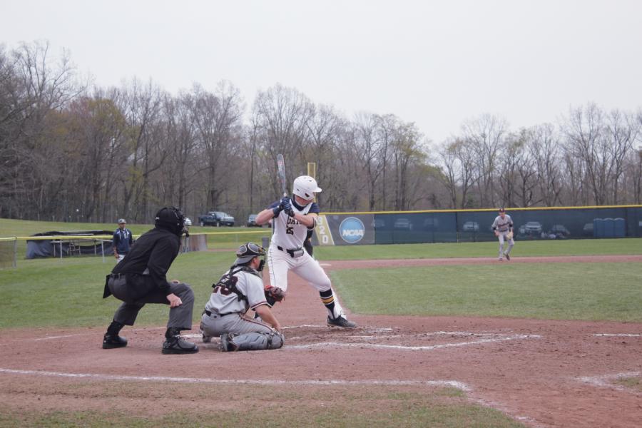 Tyler Hettich, '22, preparing to bat.