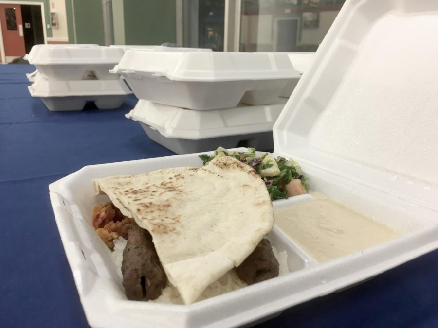 Beef kabob, rice, pita bread, salad, and hummus were served this past Wednesday for iftar, the meal to break one's fast.