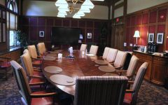 The boardroom in the Tippie Alumni Center, where some of the reaccreditation working groups meet.