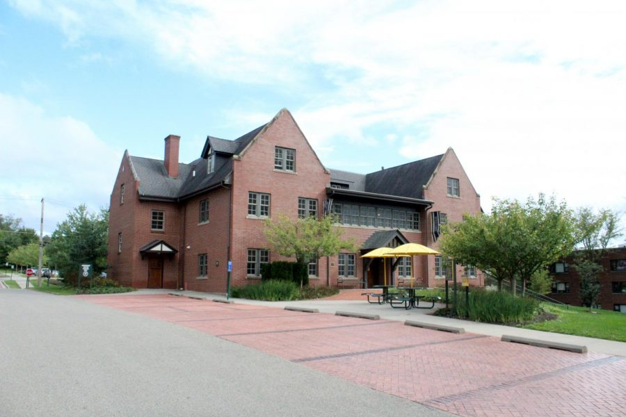 Formerly the home of the Pi chapter of the Phi Gamma Delta fraternity, the 454 House next to Quigley Hall is now the home of the college's admissions team.